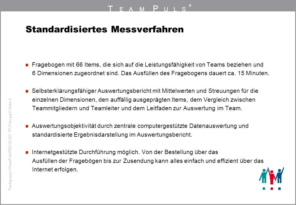 T EAM P ULS ® Fachgruppe TeamPuls / 02.05.02/ TP-Präs.ppt/ Seite 4 Standardisiertes Messverfahren Fragebogen mit 66 Items, die sich auf die Leistungsf
