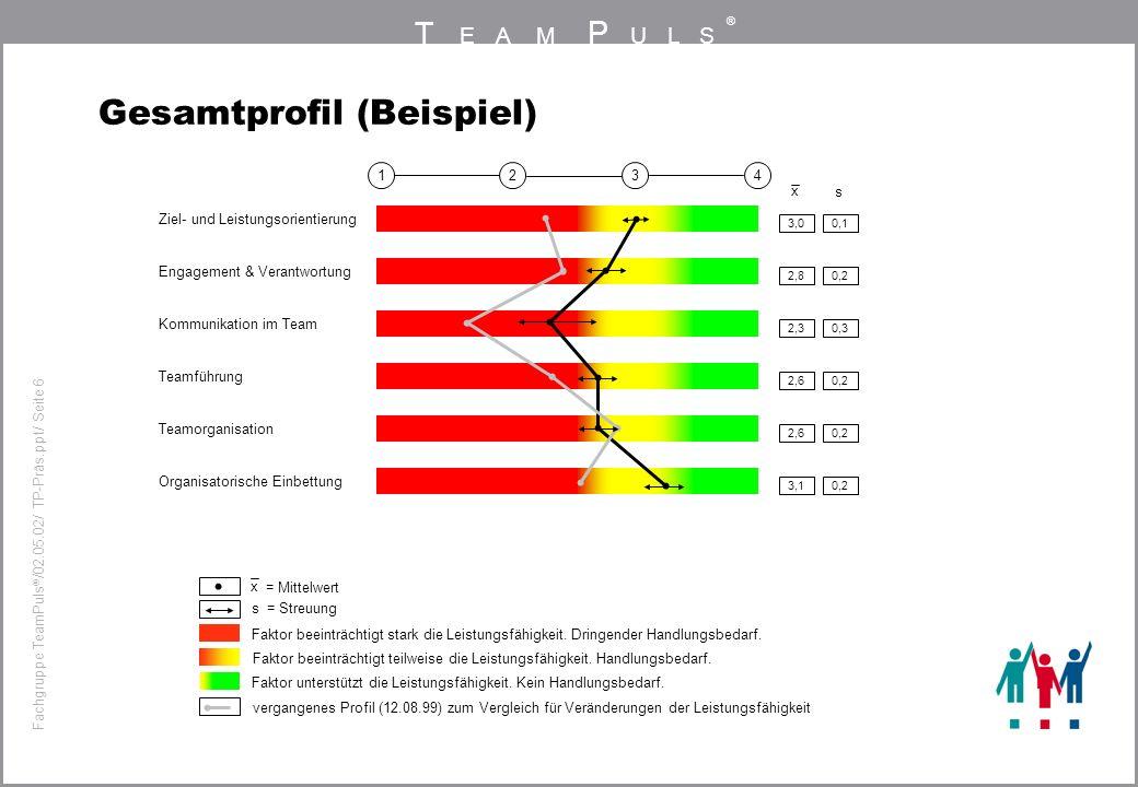 T EAM P ULS ® Fachgruppe TeamPuls / 02.05.02/ TP-Präs.ppt/ Seite 6 Gesamtprofil (Beispiel) x 3,00,1 4321 Ziel- und Leistungsorientierung 2,80,2 Engagement & Verantwortung 2,30,3 Kommunikation im Team 2,60,2 Teamführung 2,60,2 Teamorganisation 3,10,2 Organisatorische Einbettung x s = Mittelwert s = Streuung Faktor beeinträchtigt stark die Leistungsfähigkeit.