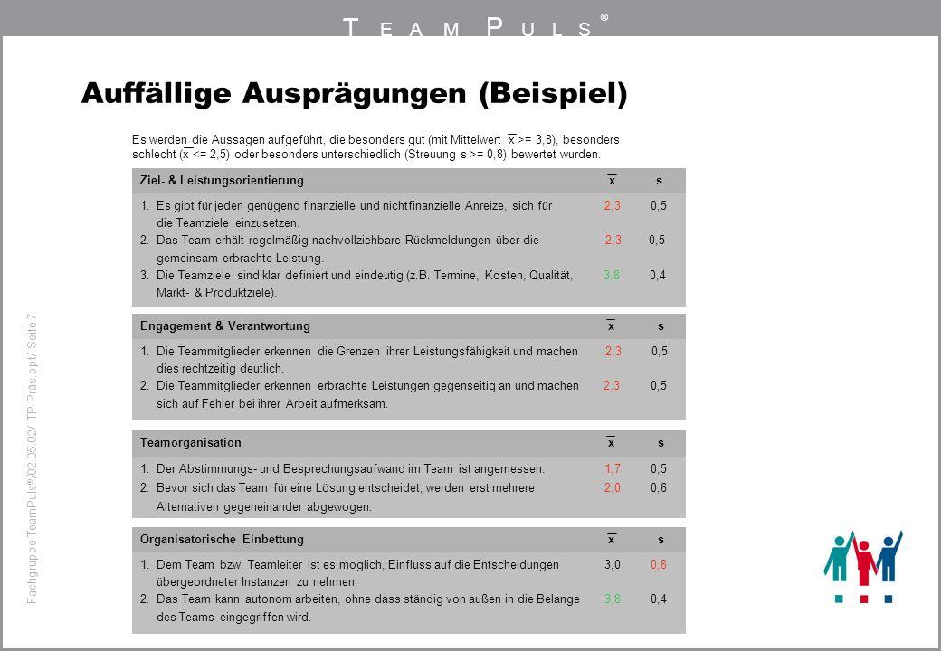 T EAM P ULS ® Fachgruppe TeamPuls / 02.05.02/ TP-Präs.ppt/ Seite 7 Organisatorische Einbettung x s Auffällige Ausprägungen (Beispiel) Ziel- & Leistung