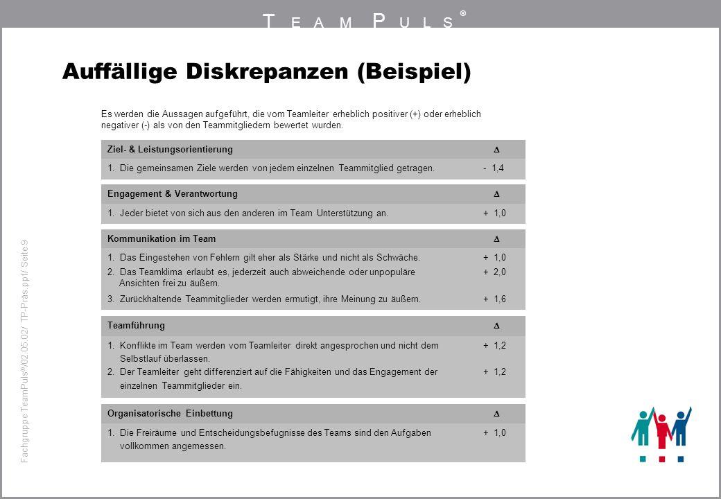 T EAM P ULS ® Fachgruppe TeamPuls / 02.05.02/ TP-Präs.ppt/ Seite 9 Auffällige Diskrepanzen (Beispiel) Ziel- & Leistungsorientierung 1. Die gemeinsamen