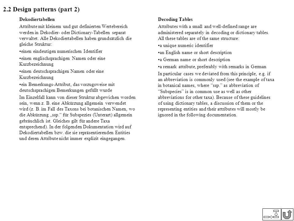 2.2 Design patterns (part 2) Dekodiertabellen Attribute mit kleinem und gut definierten Wertebereich werden in Dekodier- oder Dictionary-Tabellen sepa