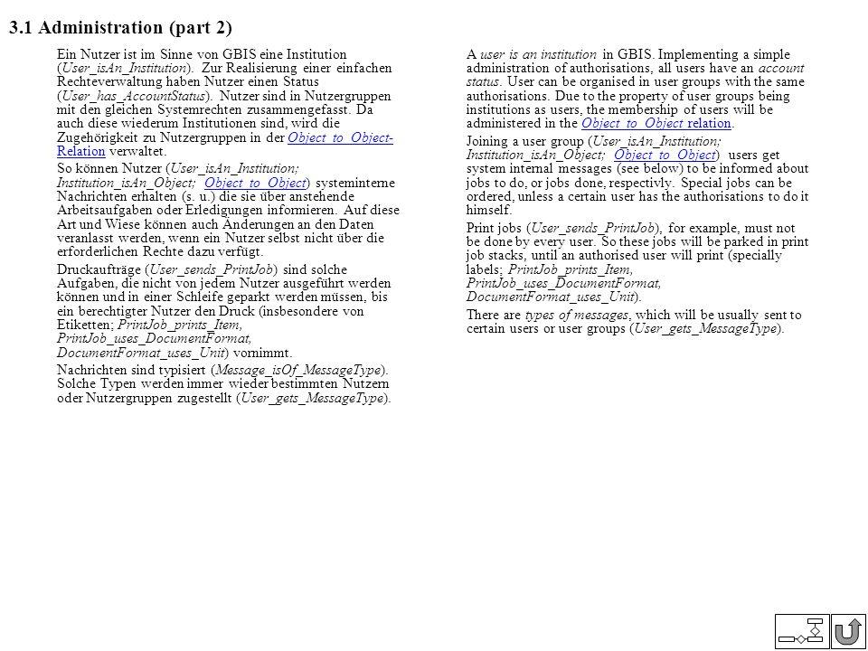 3.1 Administration (part 2) Ein Nutzer ist im Sinne von GBIS eine Institution (User_isAn_Institution). Zur Realisierung einer einfachen Rechteverwaltu