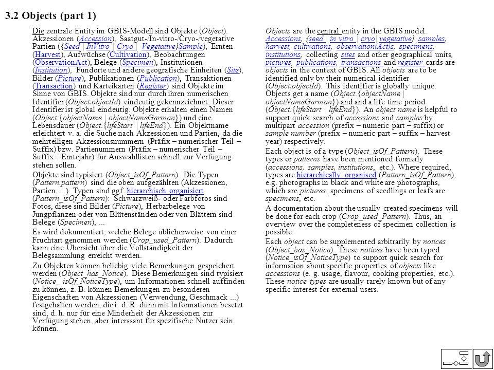3.2 Objects (part 1) Die zentrale Entity im GBIS-Modell sind Objekte (Object). Akzessionen (Accession), Saatgut-/In-vitro-/Cryo-/vegetative Partien ({