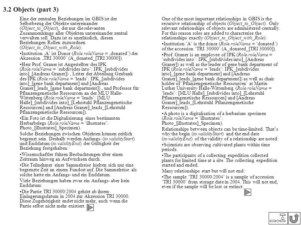 3.2 Objects (part 3) Eine der zentralen Beziehungen im GBIS ist der Selbstbezug der Objekte untereinander (Object_to_Object), der nur die relevanten Z