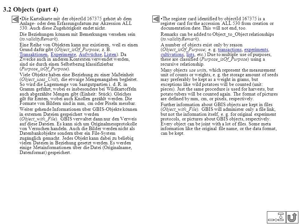 3.2 Objects (part 4) Die Karteikarte mit der objectId 167375 gehört ab dem Anlage- oder dem Erfassungsdatum zur Akzession ALL 530. Auch diese Zugehöri