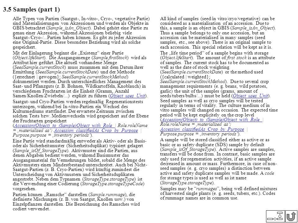 3.5 Samples (part 1) Alle Typen von Partien (Saatgut-, In-vitro-, Cryo-, vegetative Partie) sind Materialisierungen von Akzessionen und werden als Obj
