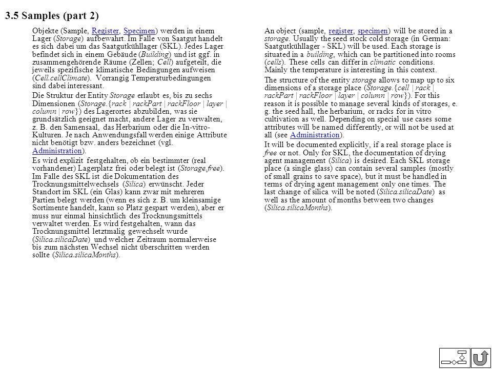 3.5 Samples (part 2) Objekte (Sample, Register, Specimen) werden in einem Lager (Storage) aufbewahrt. Im Falle von Saatgut handelt es sich dabei um da