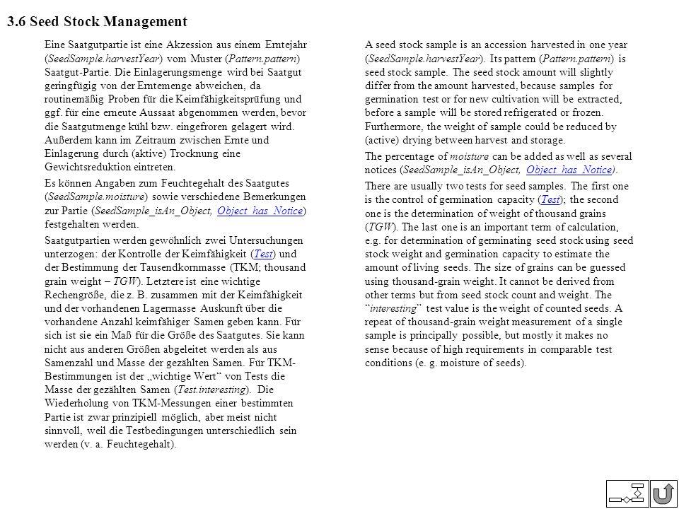3.6 Seed Stock Management Eine Saatgutpartie ist eine Akzession aus einem Erntejahr (SeedSample.harvestYear) vom Muster (Pattern.pattern) Saatgut-Part