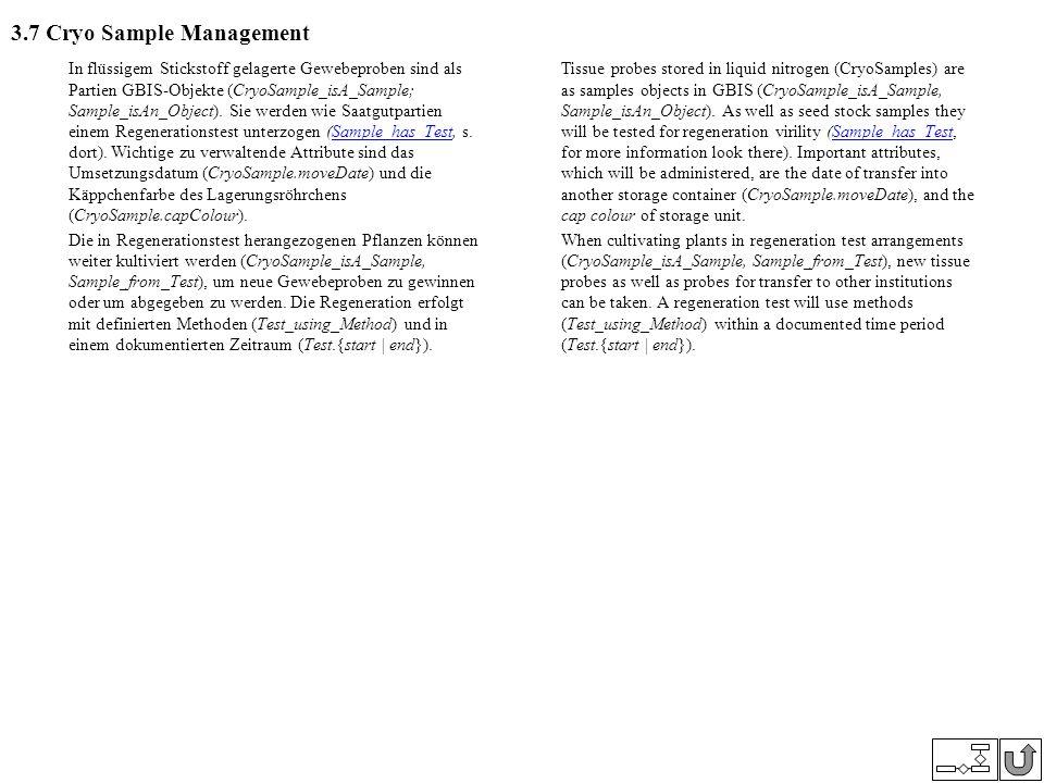3.7 Cryo Sample Management In flüssigem Stickstoff gelagerte Gewebeproben sind als Partien GBIS-Objekte (CryoSample_isA_Sample; Sample_isAn_Object). S