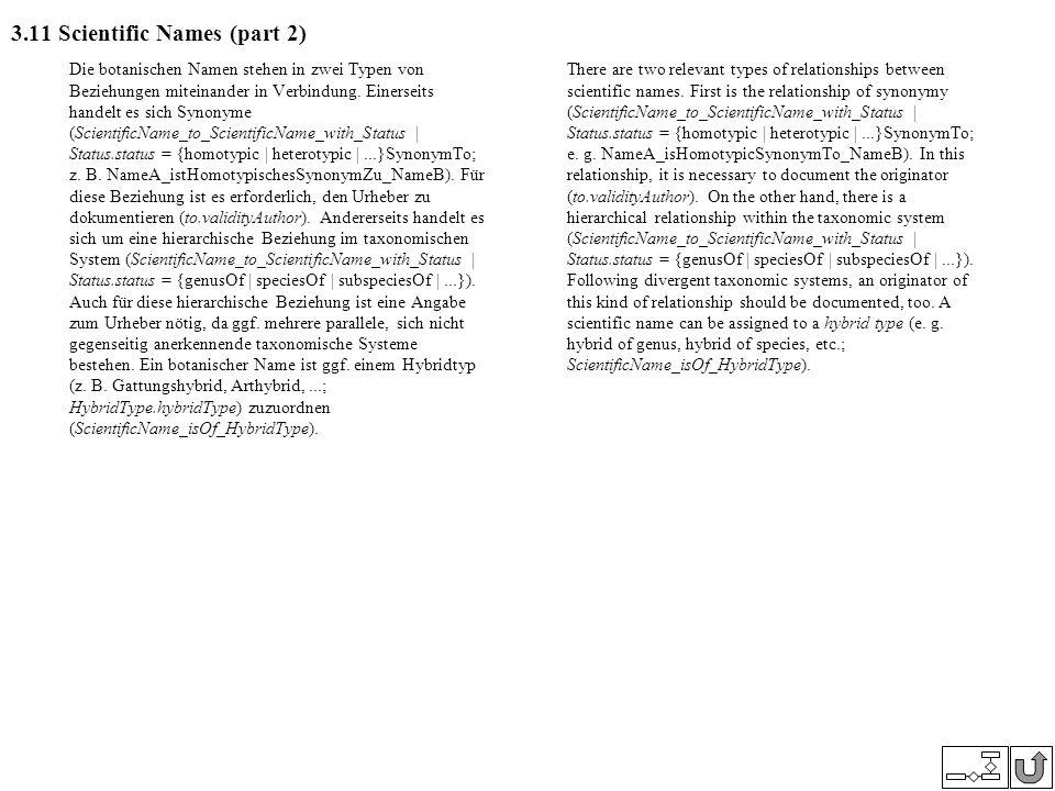 3.11 Scientific Names (part 2) Die botanischen Namen stehen in zwei Typen von Beziehungen miteinander in Verbindung. Einerseits handelt es sich Synony
