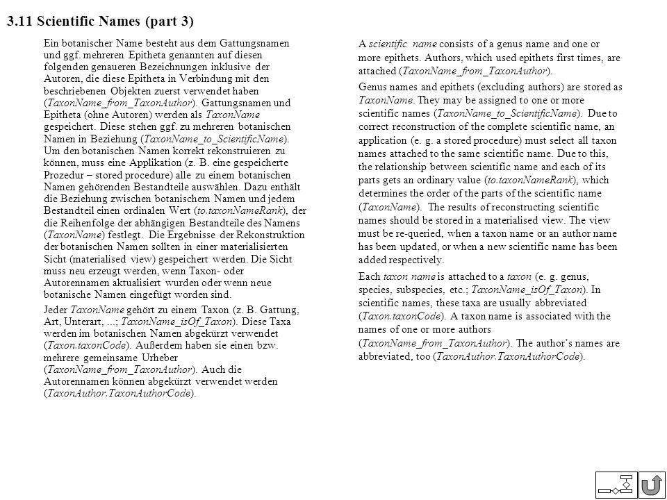 3.11 Scientific Names (part 3) Ein botanischer Name besteht aus dem Gattungsnamen und ggf. mehreren Epitheta genannten auf diesen folgenden genaueren