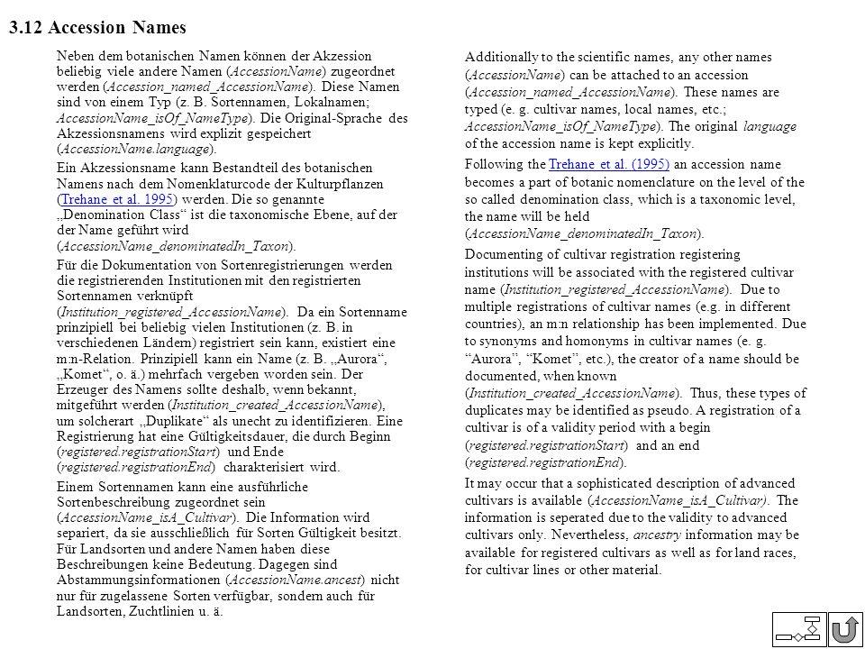 3.12 Accession Names Neben dem botanischen Namen können der Akzession beliebig viele andere Namen (AccessionName) zugeordnet werden (Accession_named_A