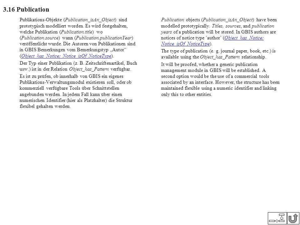 3.16 Publication Publikations-Objekte (Publication_isAn_Object) sind prototypisch modelliert worden. Es wird festgehalten, welche Publikation (Publica