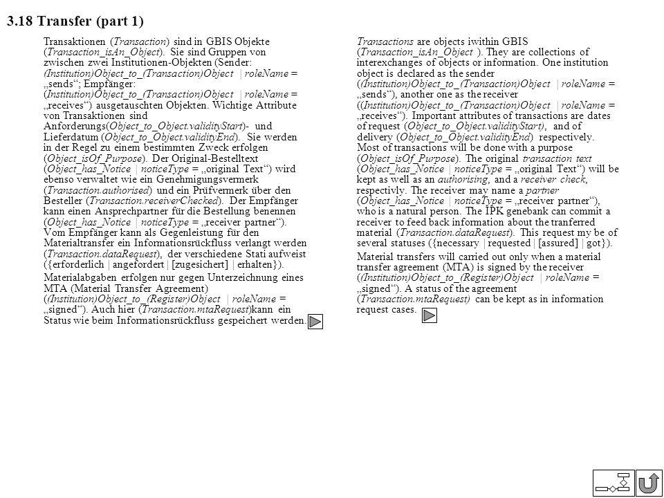 3.18 Transfer (part 1) Transaktionen (Transaction) sind in GBIS Objekte (Transaction_isAn_Object). Sie sind Gruppen von zwischen zwei Institutionen-Ob