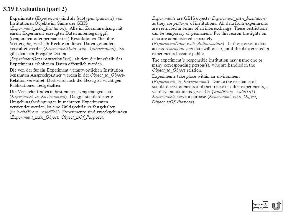 Experiment 3.19 Evaluation (part 2) Experimente (Experiment) sind als Subtypen (patterns) von Institutionen Objekte im Sinne des GBIS (Experiment_isAn