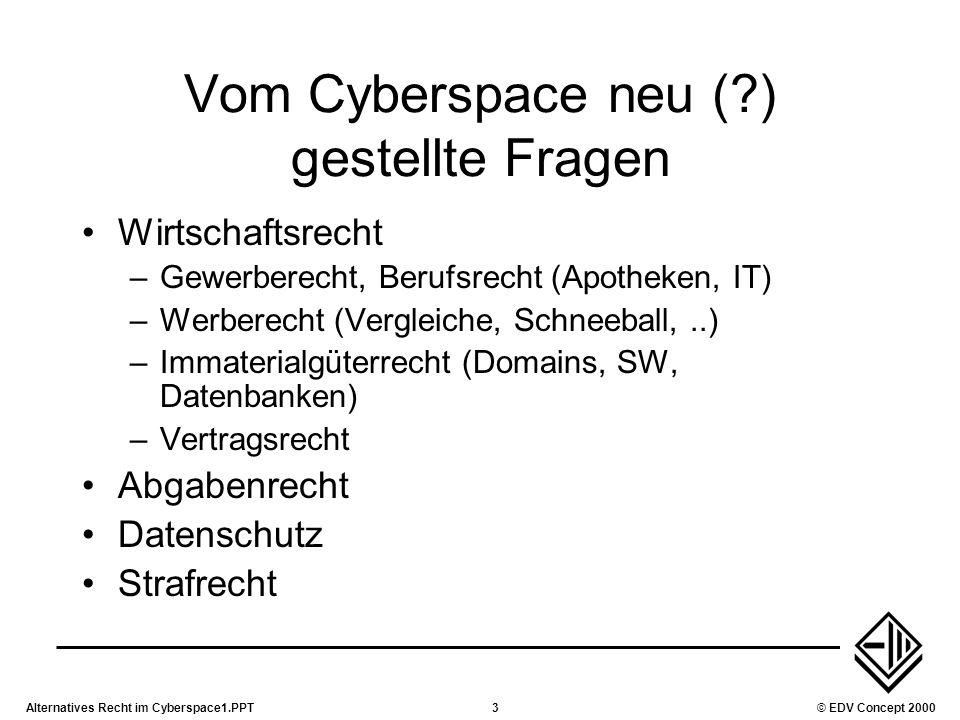 Alternatives Recht im Cyberspace1.PPT3© EDV Concept 2000 Vom Cyberspace neu (?) gestellte Fragen Wirtschaftsrecht –Gewerberecht, Berufsrecht (Apotheke