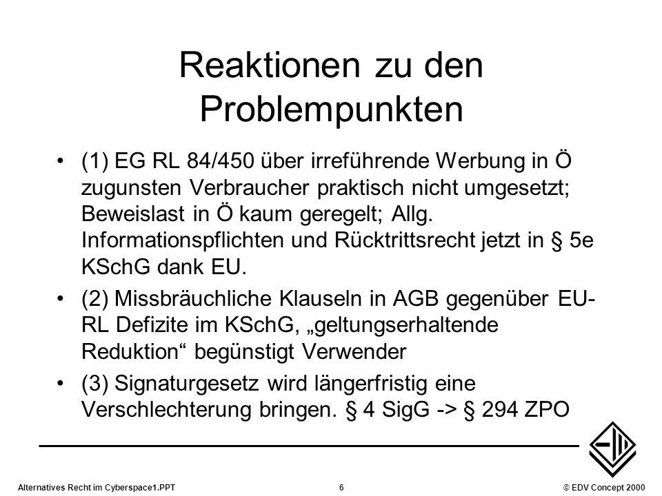 Alternatives Recht im Cyberspace1.PPT6© EDV Concept 2000 Reaktionen zu den Problempunkten (1) EG RL 84/450 über irreführende Werbung in Ö zugunsten Ve