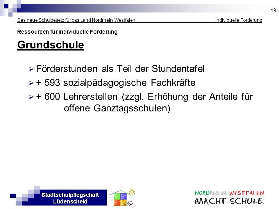 Stadtschulpflegschaft Lüdenscheid Das neue Schulgesetz für das Land Nordrhein-Westfalen Individuelle Förderung Ressourcen für individuelle Förderung G