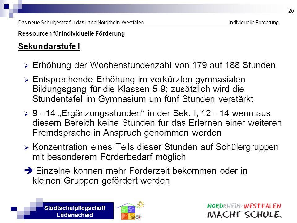 Stadtschulpflegschaft Lüdenscheid Das neue Schulgesetz für das Land Nordrhein-Westfalen Individuelle Förderung Ressourcen für individuelle Förderung S