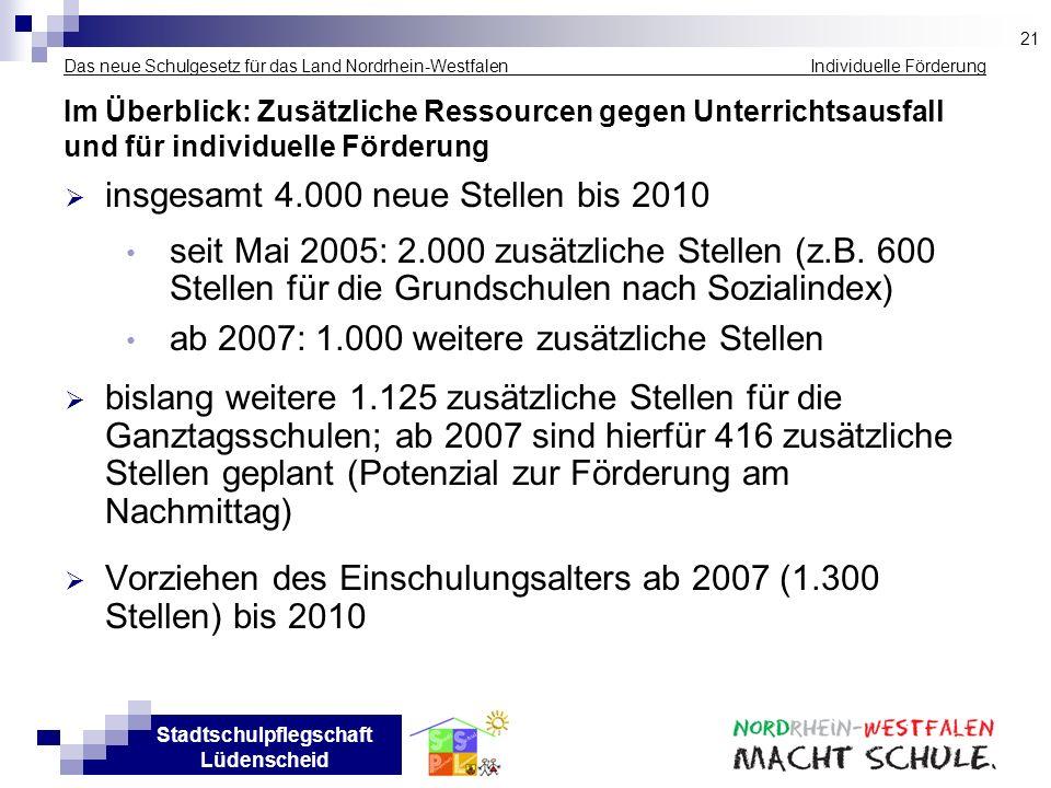 Stadtschulpflegschaft Lüdenscheid Das neue Schulgesetz für das Land Nordrhein-Westfalen Individuelle Förderung Im Überblick: Zusätzliche Ressourcen ge