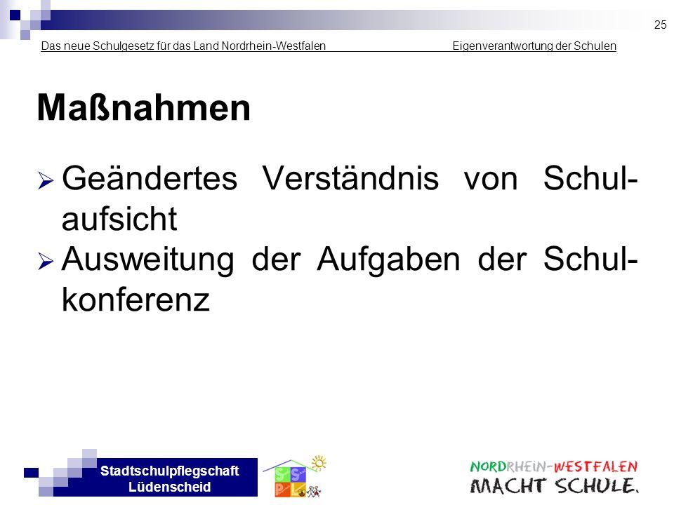 Stadtschulpflegschaft Lüdenscheid Das neue Schulgesetz für das Land Nordrhein-Westfalen _____________ Eigenverantwortung der Schulen Maßnahmen Geänder