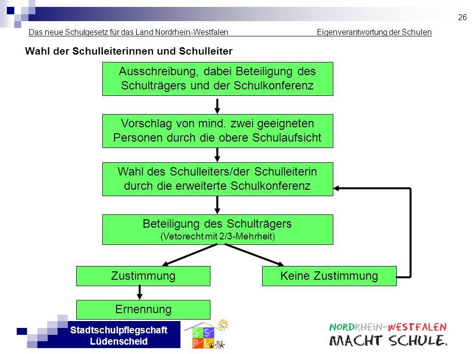 Stadtschulpflegschaft Lüdenscheid Das neue Schulgesetz für das Land Nordrhein-Westfalen _____________ Eigenverantwortung der Schulen Wahl der Schullei