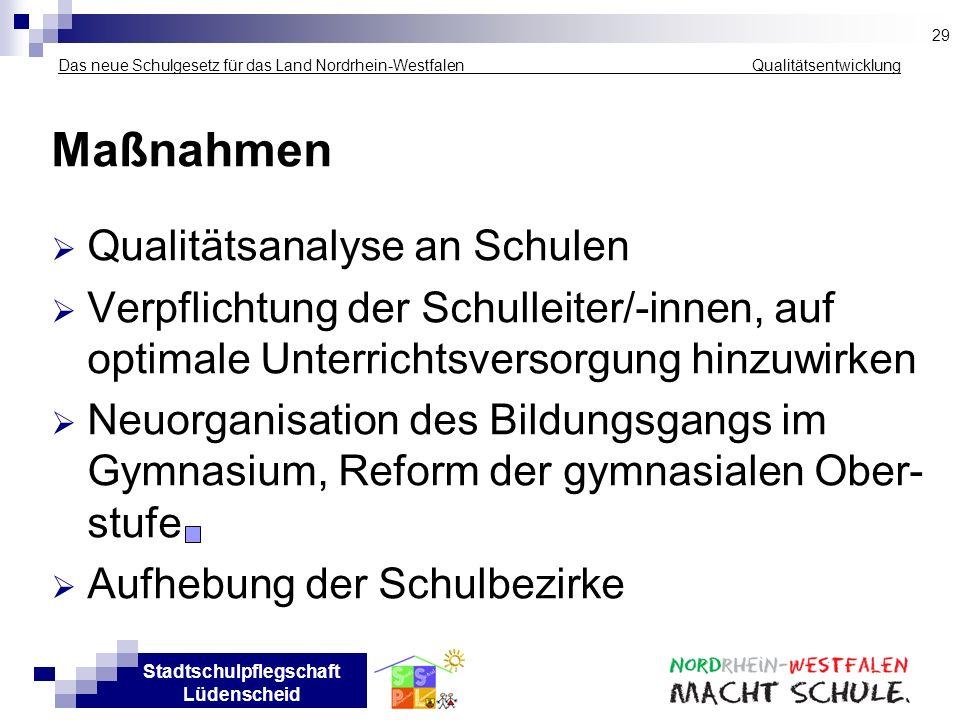 Stadtschulpflegschaft Lüdenscheid Das neue Schulgesetz für das Land Nordrhein-Westfalen _____________ Qualitätsentwicklung Maßnahmen Qualitätsanalyse