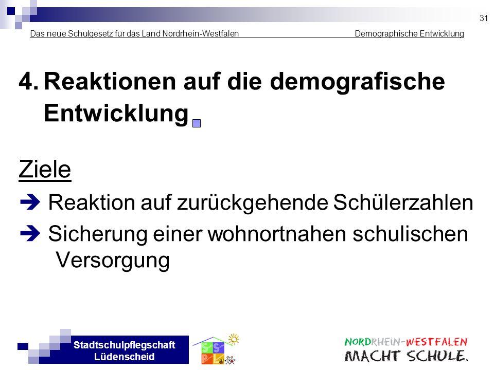 Stadtschulpflegschaft Lüdenscheid Das neue Schulgesetz für das Land Nordrhein-Westfalen _____________ Demographische Entwicklung 4.Reaktionen auf die