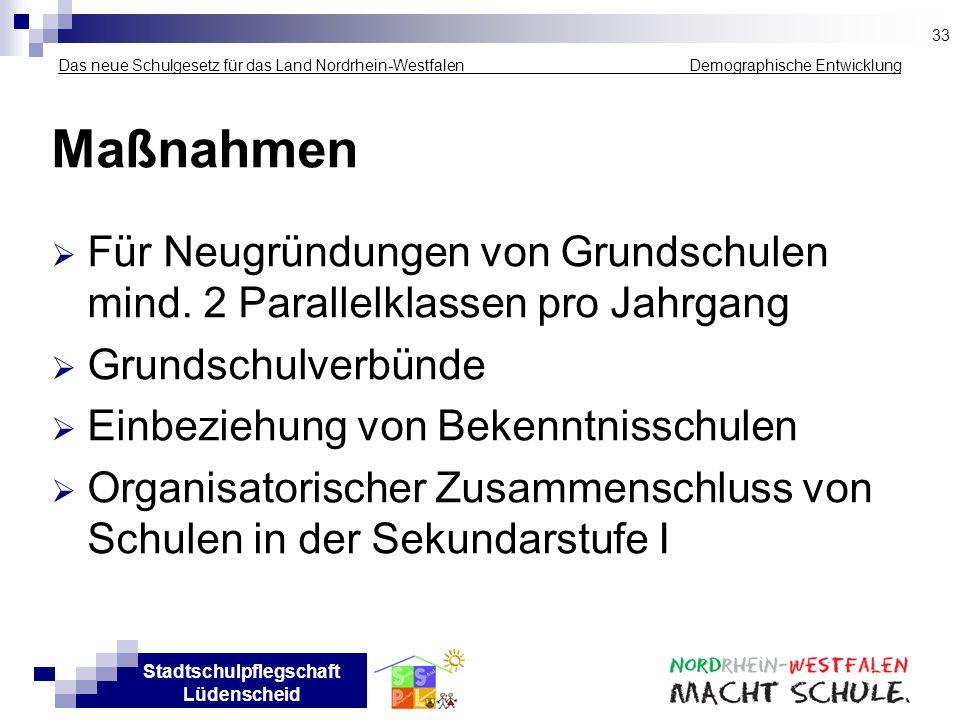 Stadtschulpflegschaft Lüdenscheid Das neue Schulgesetz für das Land Nordrhein-Westfalen _____________ Demographische Entwicklung Maßnahmen Für Neugrün