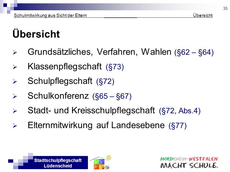 Stadtschulpflegschaft Lüdenscheid Schulmitwirkung aus Sicht der Eltern _____________ Übersicht Übersicht Grundsätzliches, Verfahren, Wahlen (§62 – §64