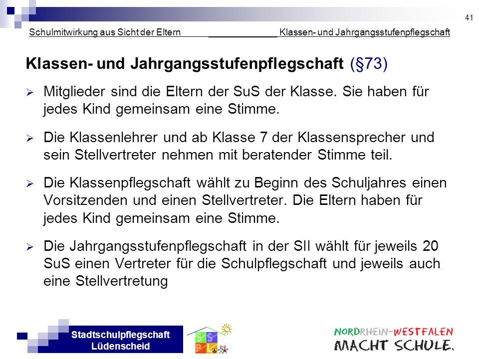Stadtschulpflegschaft Lüdenscheid Schulmitwirkung aus Sicht der Eltern _____________ Klassen- und Jahrgangsstufenpflegschaft Klassen- und Jahrgangsstu