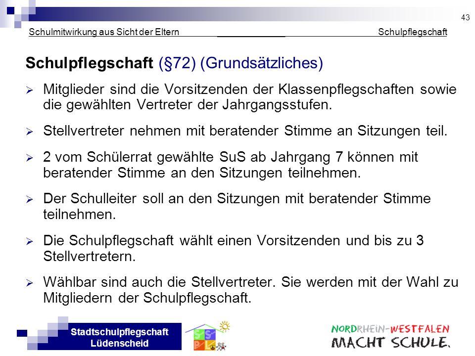 Stadtschulpflegschaft Lüdenscheid Schulmitwirkung aus Sicht der Eltern _____________ Schulpflegschaft Schulpflegschaft (§72) (Grundsätzliches) Mitglie