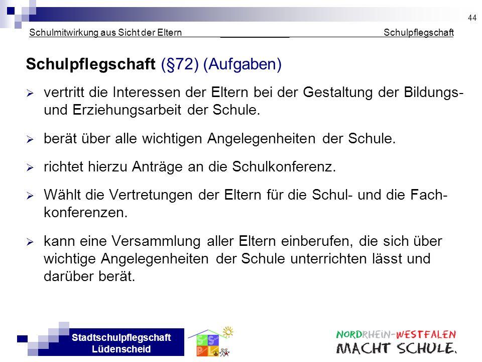 Stadtschulpflegschaft Lüdenscheid Schulmitwirkung aus Sicht der Eltern _____________ Schulpflegschaft Schulpflegschaft (§72) (Aufgaben) vertritt die I