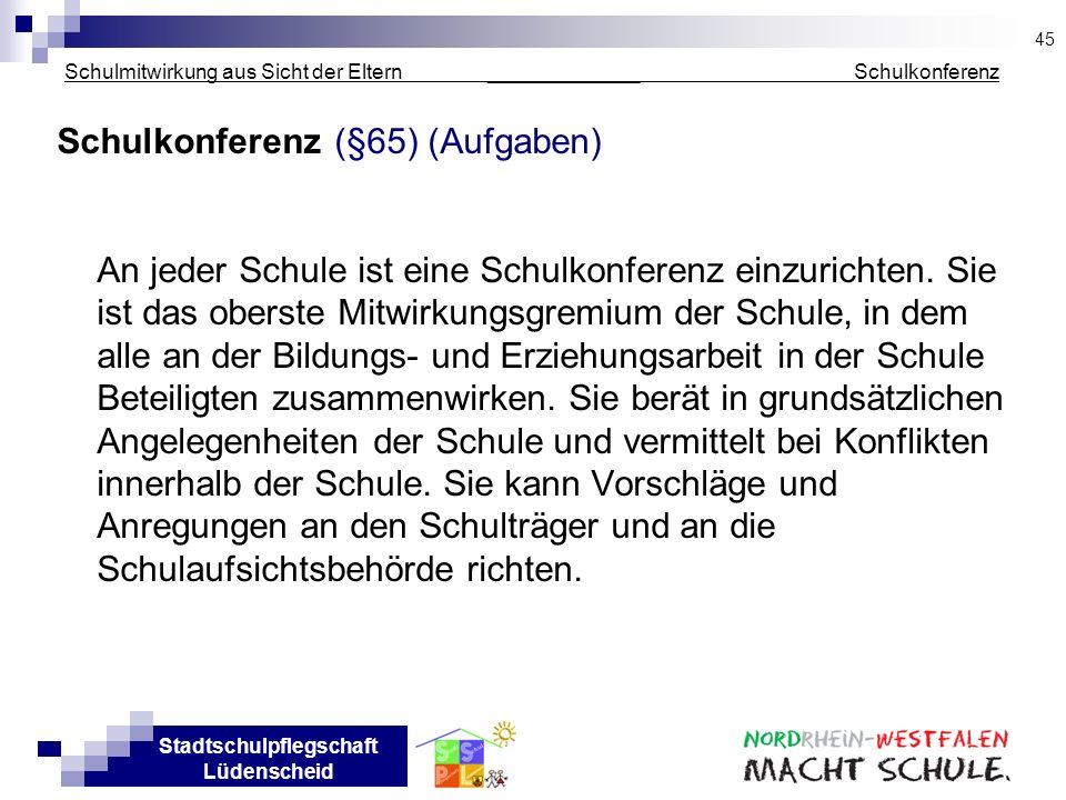 Stadtschulpflegschaft Lüdenscheid Schulmitwirkung aus Sicht der Eltern _____________ Schulkonferenz Schulkonferenz (§65) (Aufgaben) An jeder Schule is