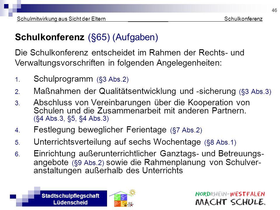 Stadtschulpflegschaft Lüdenscheid Schulmitwirkung aus Sicht der Eltern _____________ Schulkonferenz Schulkonferenz (§65) (Aufgaben) 1. Schulprogramm (