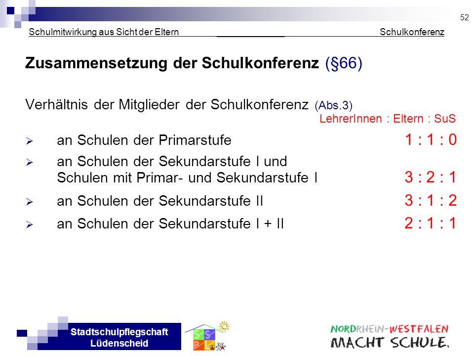 Stadtschulpflegschaft Lüdenscheid Schulmitwirkung aus Sicht der Eltern _____________ Schulkonferenz Zusammensetzung der Schulkonferenz (§66) Verhältni