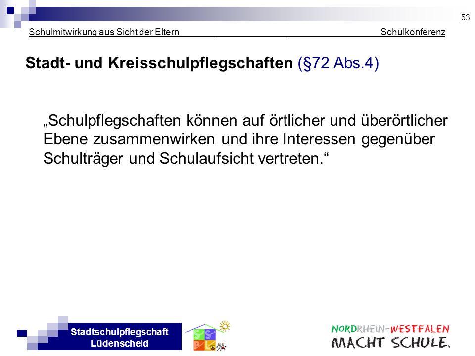 Stadtschulpflegschaft Lüdenscheid Schulmitwirkung aus Sicht der Eltern _____________ Schulkonferenz Stadt- und Kreisschulpflegschaften (§72 Abs.4) Sch