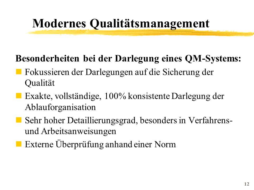 12 Modernes Qualitätsmanagement Besonderheiten bei der Darlegung eines QM-Systems: Fokussieren der Darlegungen auf die Sicherung der Qualität Exakte, vollständige, 100% konsistente Darlegung der Ablauforganisation Sehr hoher Detaillierungsgrad, besonders in Verfahrens- und Arbeitsanweisungen Externe Überprüfung anhand einer Norm