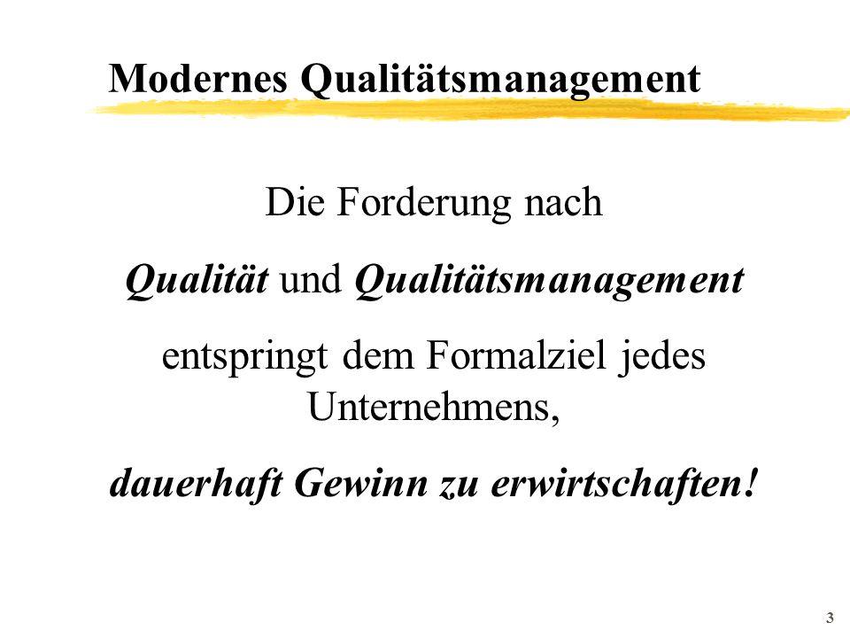 3 Modernes Qualitätsmanagement Die Forderung nach Qualität und Qualitätsmanagement entspringt dem Formalziel jedes Unternehmens, dauerhaft Gewinn zu erwirtschaften!
