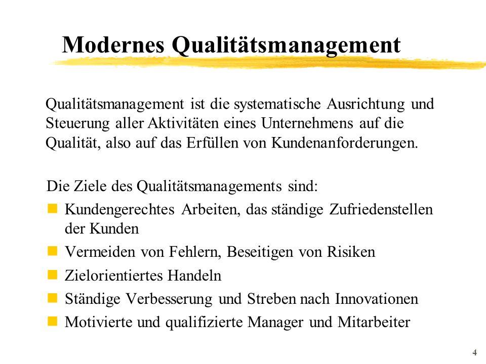 5 Modernes Qualitätsmanagement Die Begriffe Wertschöpfungskette, Geschäftsprozess, Prozessketten und Prozessorientierung sind inzwischen kein Modethema mehr sondern etablierte Begriffe einer speziellen Methode Unternehmen zu betrachten.