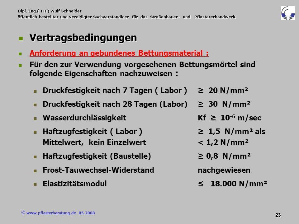 © www.pflasterberatung.de 05.2008 23 Dipl.-Ing.( FH ) Wulf Schneider öffentlich bestellter und vereidigter Sachverständiger für das Straßenbauer- und
