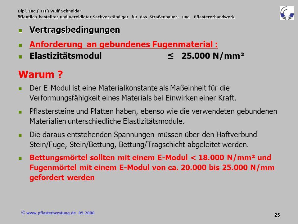 © www.pflasterberatung.de 05.2008 25 Dipl.-Ing.( FH ) Wulf Schneider öffentlich bestellter und vereidigter Sachverständiger für das Straßenbauer- und