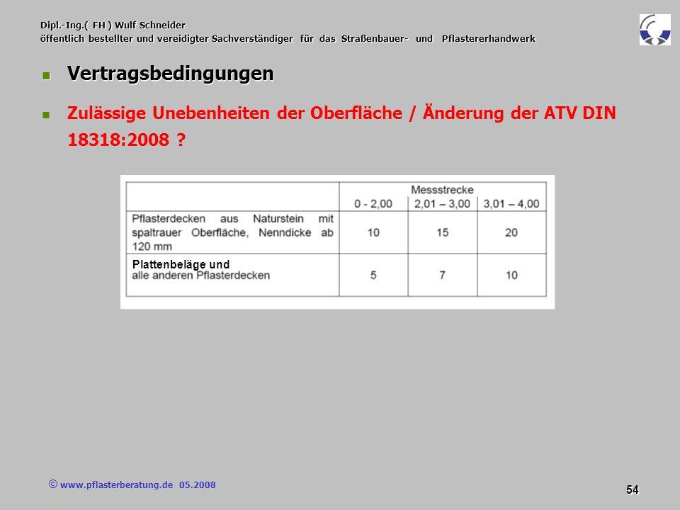 © www.pflasterberatung.de 05.2008 54 Dipl.-Ing.( FH ) Wulf Schneider öffentlich bestellter und vereidigter Sachverständiger für das Straßenbauer- und