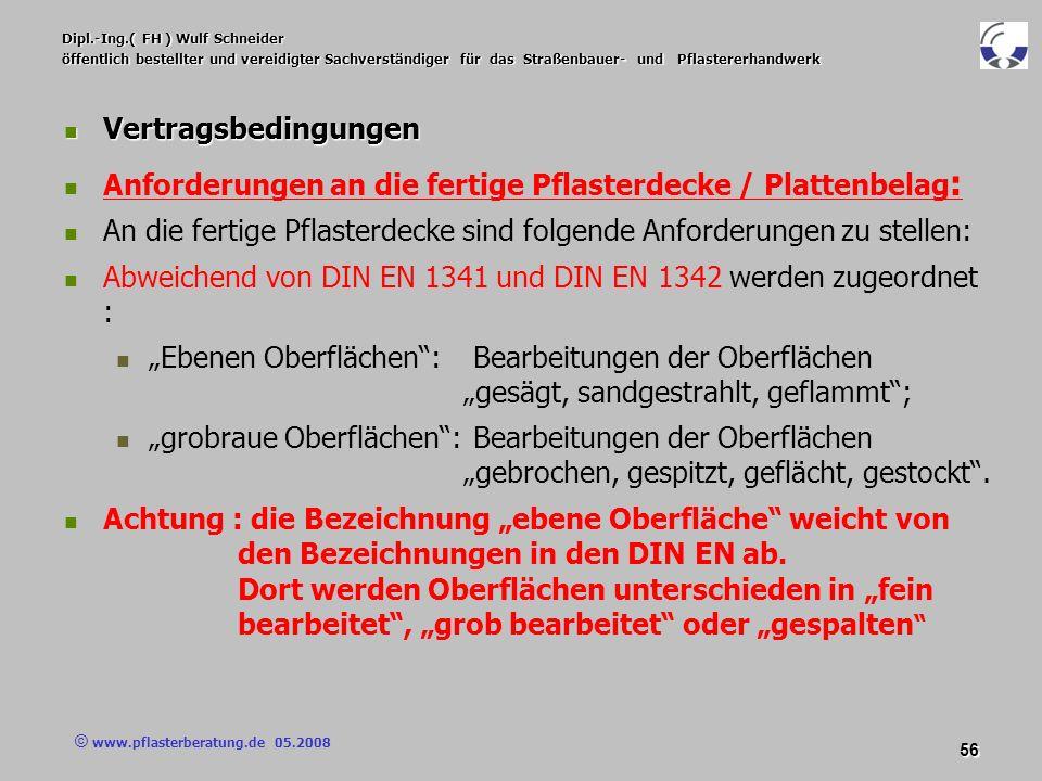 © www.pflasterberatung.de 05.2008 56 Dipl.-Ing.( FH ) Wulf Schneider öffentlich bestellter und vereidigter Sachverständiger für das Straßenbauer- und