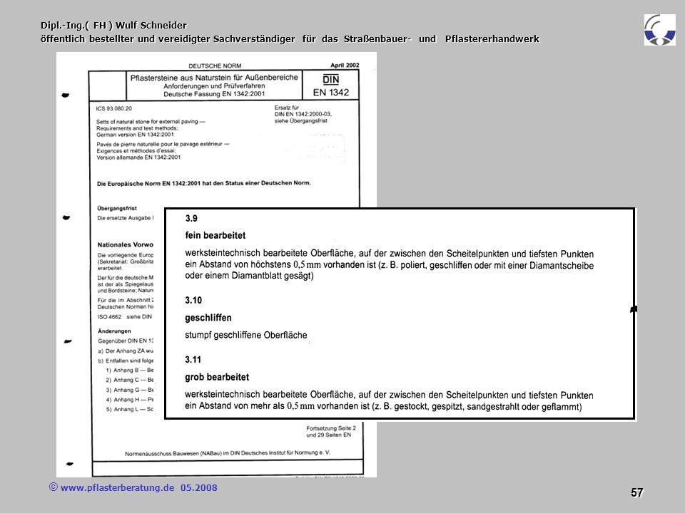 © www.pflasterberatung.de 05.2008 57 Dipl.-Ing.( FH ) Wulf Schneider öffentlich bestellter und vereidigter Sachverständiger für das Straßenbauer- und