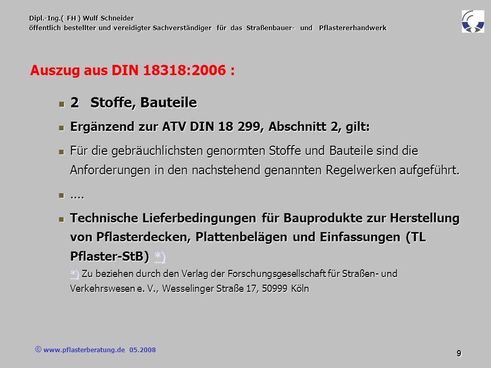 © www.pflasterberatung.de 05.2008 20 Dipl.-Ing.( FH ) Wulf Schneider öffentlich bestellter und vereidigter Sachverständiger für das Straßenbauer- und Pflastererhandwerk Vertragsbedingungen Vertragsbedingungen Das heißt : Das heißt : Die dort genannten Anforderungen Pflaster und Platten aus Naturstein werden für die gebundene Ausführung vereinbart.