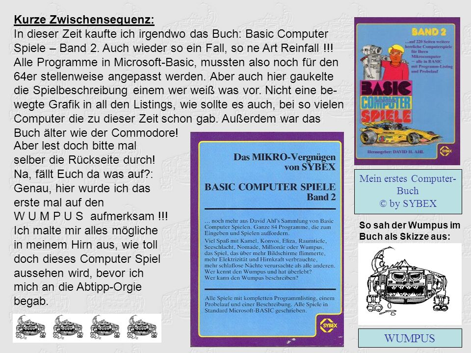 Kurze Zwischensequenz: In dieser Zeit kaufte ich irgendwo das Buch: Basic Computer Spiele – Band 2.
