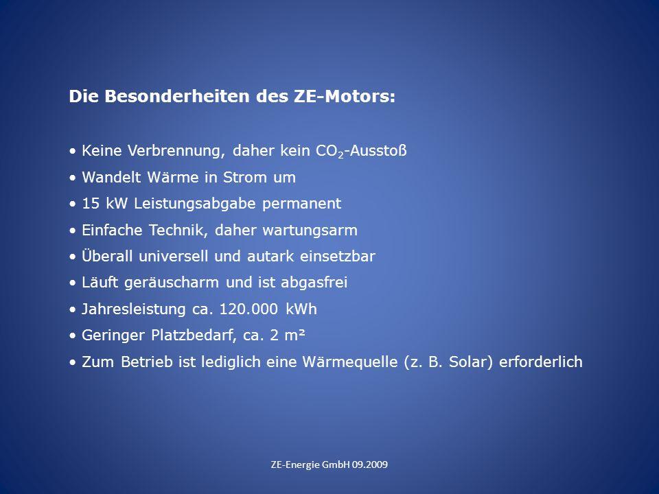 Die Besonderheiten des ZE-Motors: Keine Verbrennung, daher kein CO 2 -Ausstoß Wandelt Wärme in Strom um 15 kW Leistungsabgabe permanent Einfache Techn
