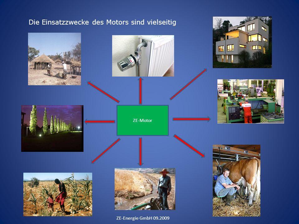 Die Einsatzzwecke des Motors sind vielseitig ZE-Energie GmbH 09.2009 ZE-Motor