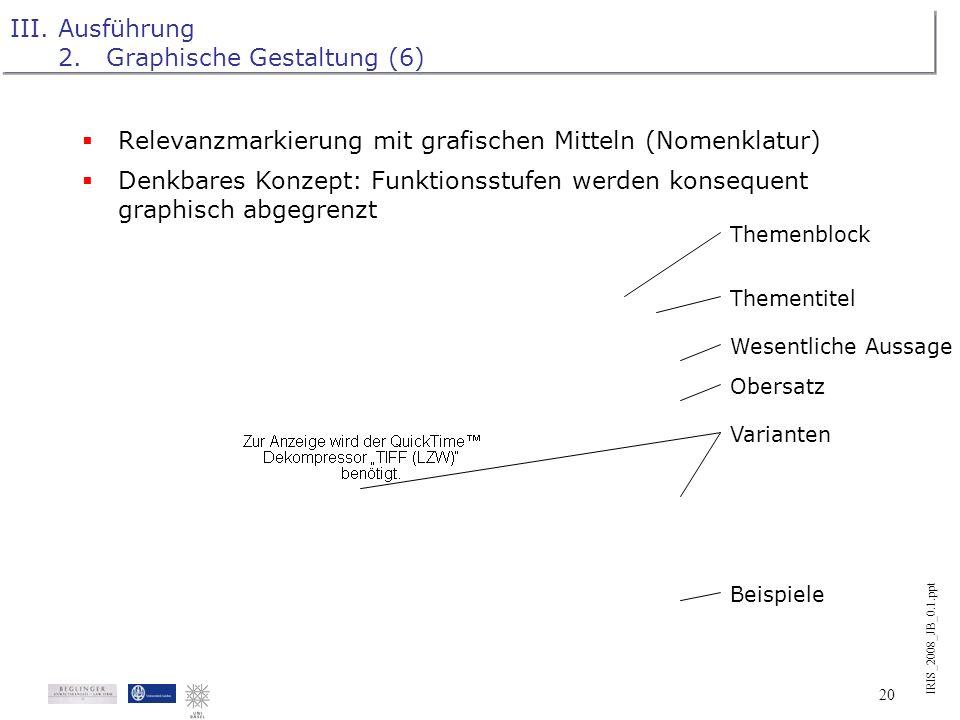 IRIS_2008_JB_0.1.ppt 19 III.Ausführung 2.Graphische Gestaltung (5) Piktogramme: Erwägung des Einsatzes von Piktogrammen während des Prozesses der Erst